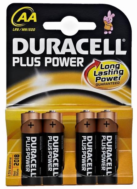 Duracell AA LR6 MN1500 bl/4 Plus Power alkaline Batterijen